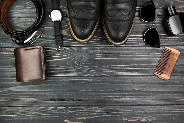 Composition for fathers day with accessories and copyspace