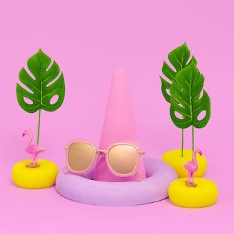 Composition flat lay fashion accessories sunglasses. beach tropical mood