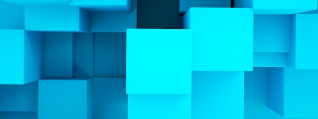 Composition from blue 3d cubes, geometric background, 3d rendering, panoramic image