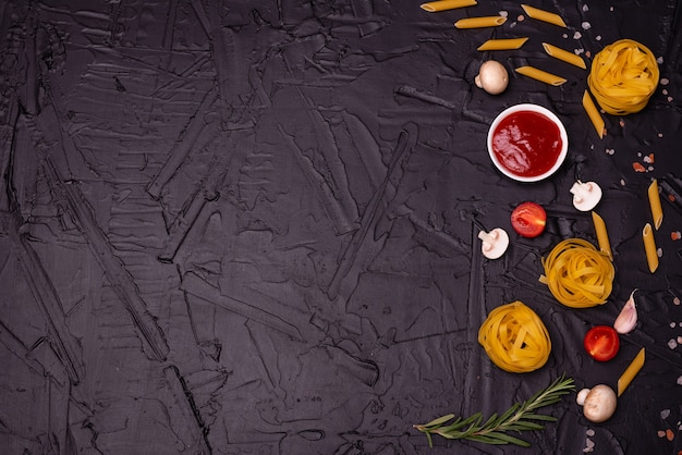 Composition from pasta which can be used as a background