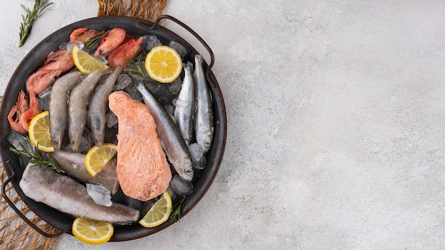 Composition of frozen sea food on the table