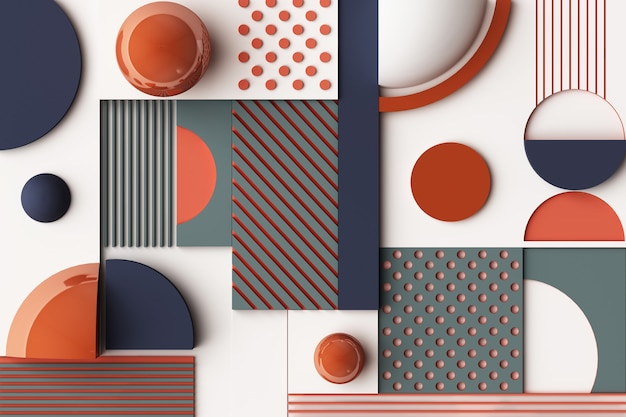 Composition of geometric shapes in orange and dark blue tone. 3d rendering illustration