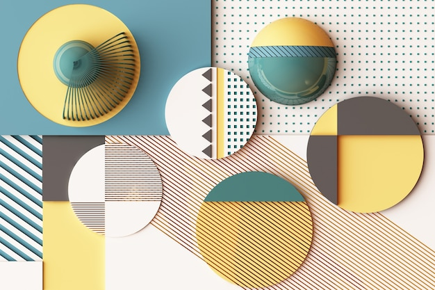 Composition of geometric shapes in pastel yellow and green tone. 3d rendering illustration