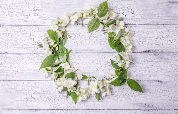 Composition of green leaves and flowers of jasmine  with a blank sheet for text on a gray background