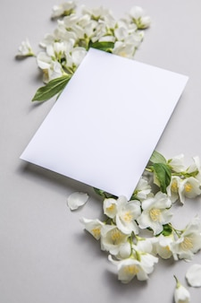Composition of green leaves and flowers of jasmine  with a blank sheet for text on a gray   paper background. natural layout for postcard. flat lay