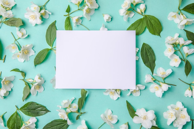 Composition of green leaves and flowers of jasmine  with a blank sheet for text