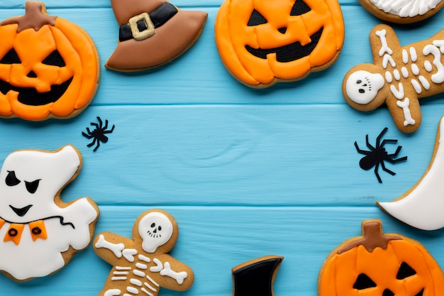 Composition of halloween cookies