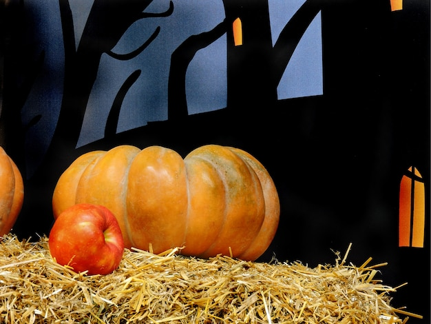 Composition for halloween. pumpkin hay apple.