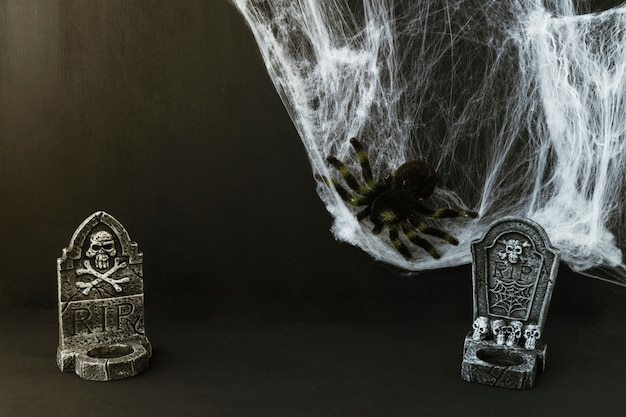 Composition for halloween with tombstones