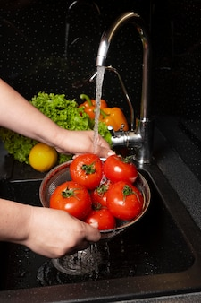 Composition of healthy food being washed