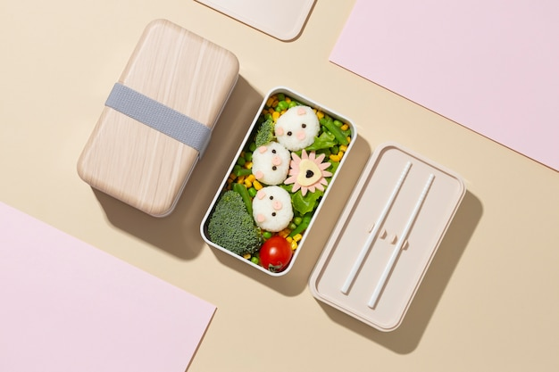 Composition of healthy japanese bento box