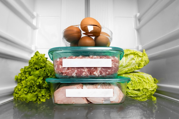 Composition of healthy raw food in the fridge