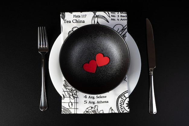 Composition of heart and cutlery