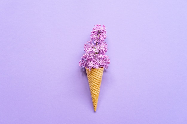 Composition of ice cream cone with purple lilac flowers. flat lay. top view. creative summer concept