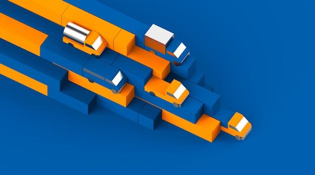 파란색 상자 및 자동차 금속 트럭 장난감 모델 차량 수집 물류 광고의 구성