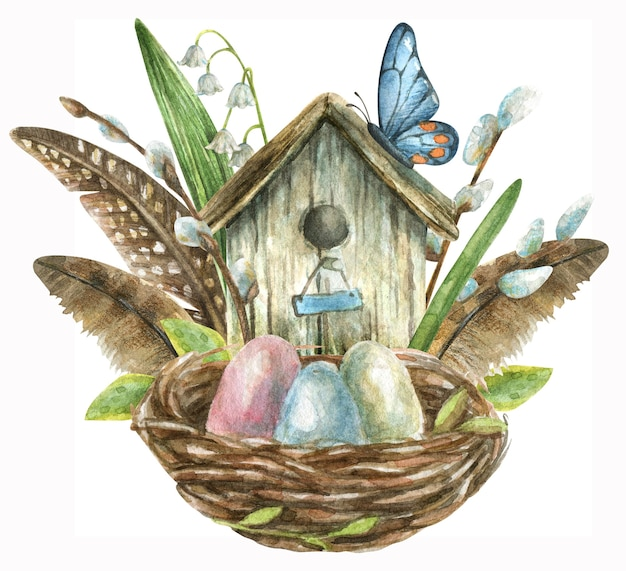 The composition is hand-drawn. a nest with colored eggs, a birdhouse with feathers, willow branches and flowers, butterflies and white lilies of the valley.