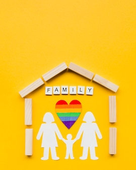Composition for lgbt family concept on yellow background