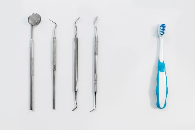Composition of metal medical equipment tools and toothbrush