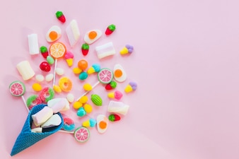 Composition of candies and waffle cone