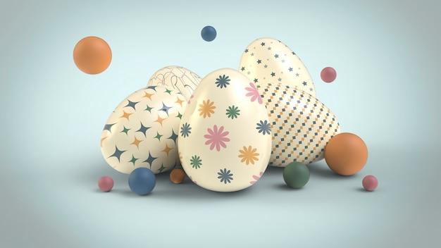 飾られたイースターエッグと泡の構成