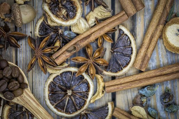 乾燥レモン、シナモンコーヒーの組成