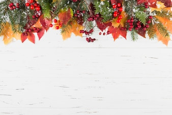 Composition of foliage and fir branches with decorative snow