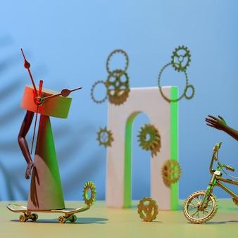Композиция из шестеренок, фигур, арок, ног и рук, велосипеда и скейтборда, концепция о нехватке времени, срок.