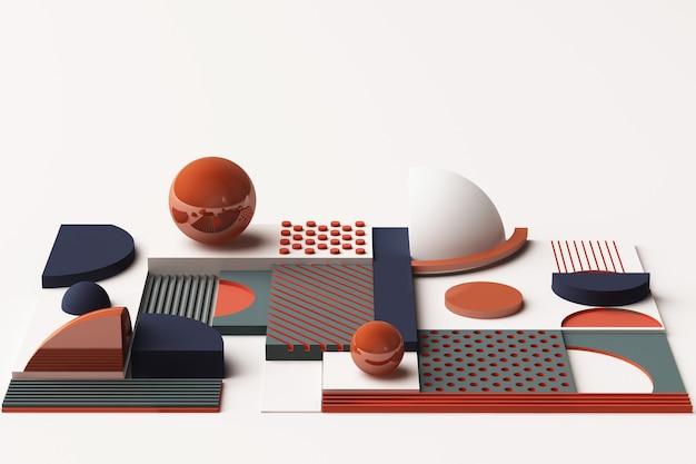 오렌지와 다크 블루 톤의 기하학적 도형 구성. 3d 렌더링 그림