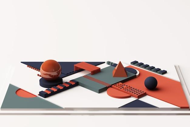 주황색과 진한 파란색 톤의 기하학적 모양 구성. 3d 렌더링 그림