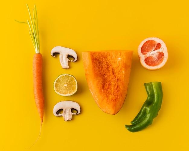 건강한 비건 식품의 구성