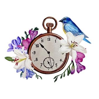 ユリとフリージアの構成、ヴィンテージの青い鳥の時計、水彩イラスト