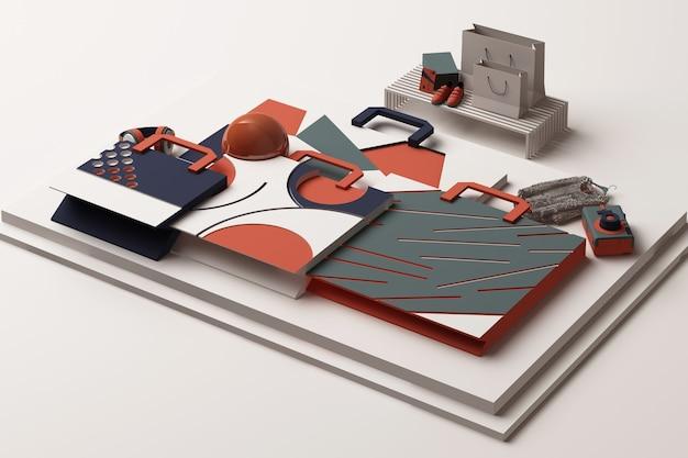 오렌지와 블루 톤의 기하학적 멤피스 스타일 모양으로 쇼핑백의 구성. 3d 렌더링 그림