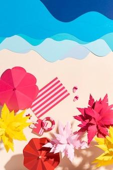 다양한 소재로 만든 여름 해변의 구성