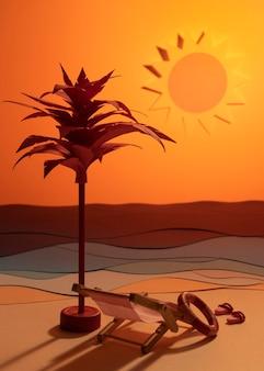さまざまな素材で作られた夏のビーチの構成