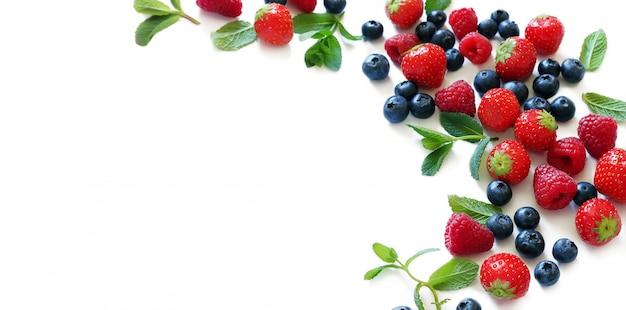 민트 잎으로 다양 한 익은 신선한 딸기의 구성