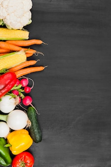 Composition of vegetables with space on right