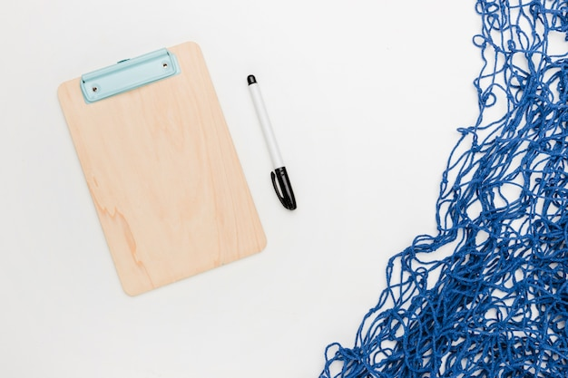 Composition of office and marine things on white background