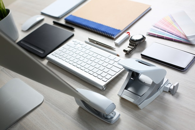 Composition of office worker items on