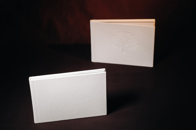 Composition of photo books in natural white leather of different sizes