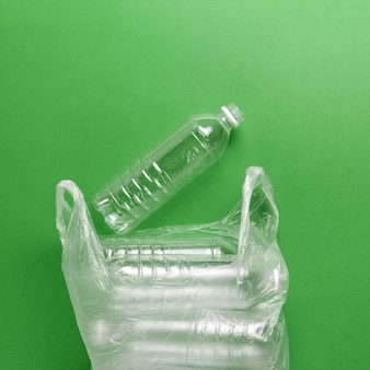 Composition of plastic waste pollution.  sorting and recycling.  disposable plastic bottles for water.  ecological concept.
