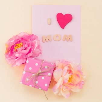Composition of postcard for mother`s day