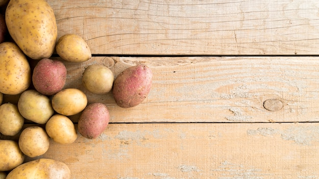 Composition of raw potatoes with copy space