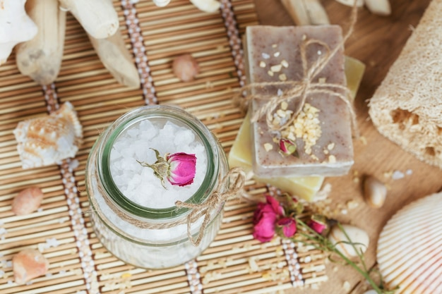 Composition of spa treatment on rustic wooden surface