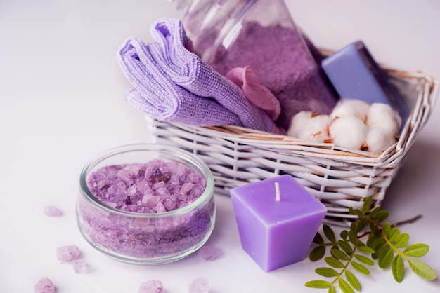 Composition of spa treatment on table on background