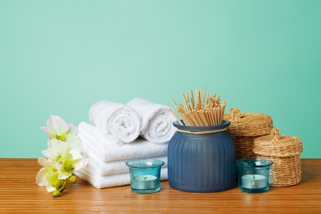 Composition of spa treatment on wooden table