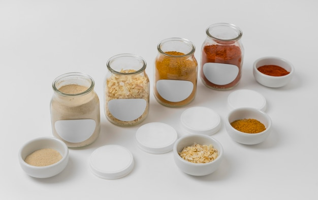 Composition of spices with labels