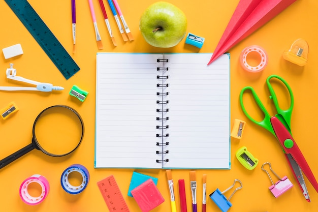 Composition of stationery items for school studying