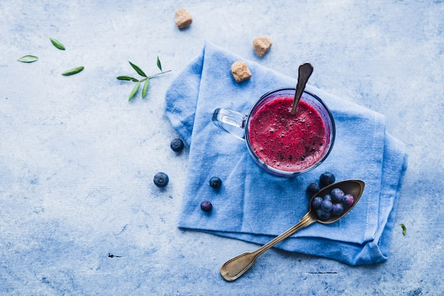 Composition of tasty blueberries smoothie