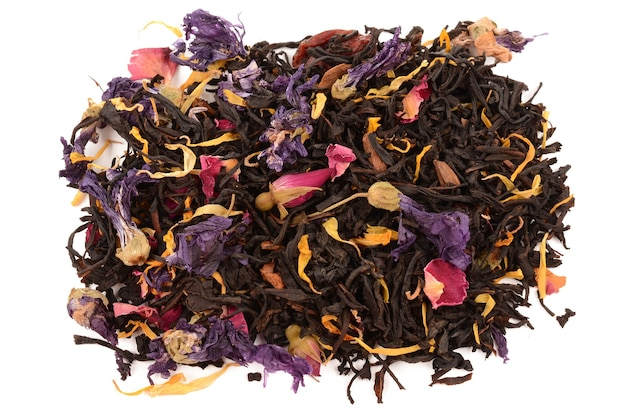 Composition of tea on a white background