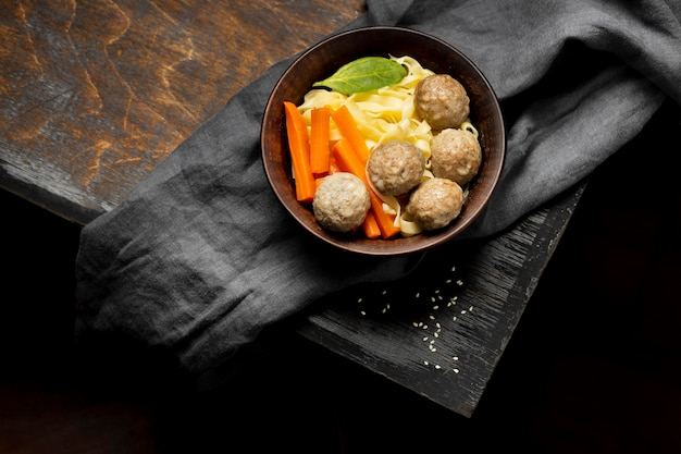 Composition of traditional indonesian bakso